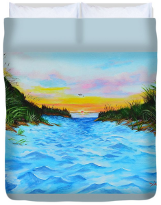 """Path To The Key At Sunset"" Duvet Cover BUY"