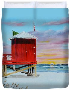 """Red Lifeguard Shack On Siesta Key"" Duvet Cover BUY"