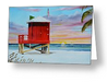 """Red Lifeguard Shack On Siesta Key"" Greeting Card BUY"