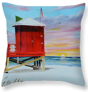 """Red Lifeguard Shack On Siesta Key"" Throw Pillow BUY"