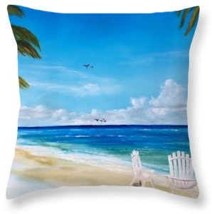 """Relaxing At The Beach"" Throw Pillow BUY"