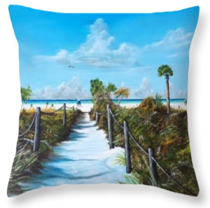 """Siesta Beach Access"" Throw Pillow BUY"