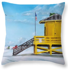 """Siesta Key Lifeguard Shack"" Throw Pillow BUY"