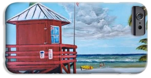 """Siesta Key Red Lifeguard Shack"" Cell Phone Case BUY"