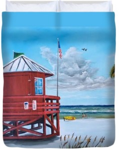 """Siesta Key Red Lifeguard Shack"" Duvet Cover BUY"