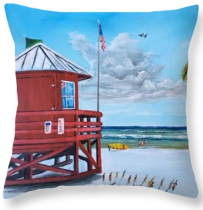 """Siesta Key Red Lifeguard Shack"" Throw Pillow BUY"