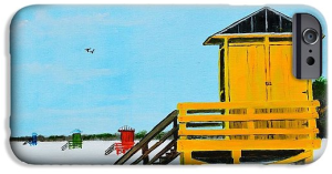 """Yellow Lifeguard Shack On Siesta Key"" Cell Phone Case BUY"