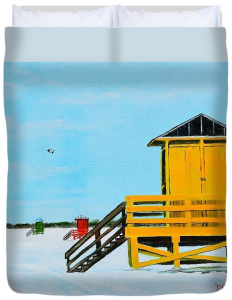 """Yellow Lifeguard Shack On Siesta Key"" Duvet Cover BUY"