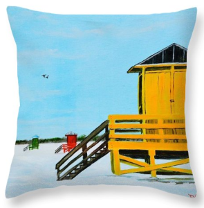 """Yellow Lifeguard Shack On Siesta Key"" Throw Pillow BUY"