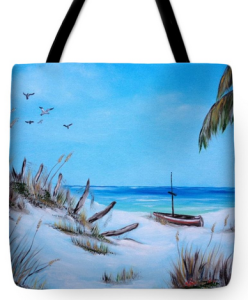 """Broken Fence On Beach"" Tote Bag BUY"