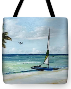 """Catamaran On The Beach"" Tote Bag BUY"