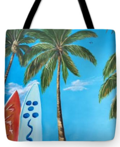 """Clear Sky Let's Surf"" Tote Bag BUY"