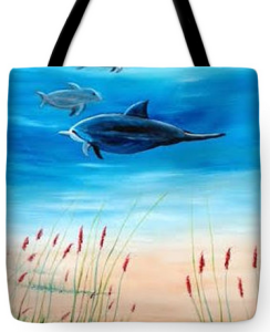 """Dolphins Underwater"" Tote Bag BUY"