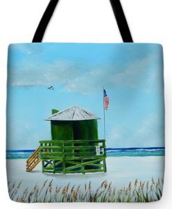 """Green Lifeguard Shack On Siesta Key"" Tote Bag BUY"