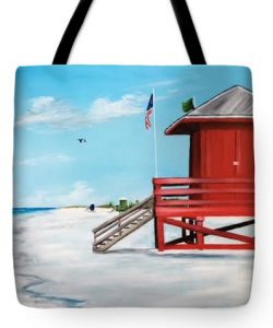"""Let's Meet At The Red Lifeguard Shack"" Tote Bag BUY"