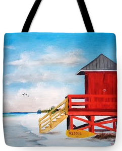 """Red Life Guard Shack On Siesta Key"" Tote Bag BUY"