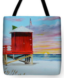 """Red Lifeguard Shack On Siesta Key"" Tote Bag BUY"
