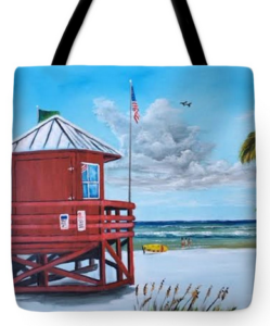 """Siesta Key Red Lifeguard Shack"" Tote Bag BUY"