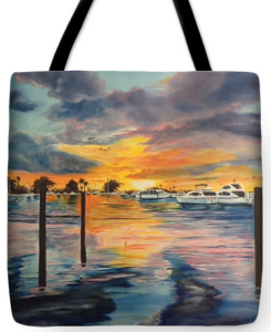 """Sunset At The Yacht Club"" Tote Bag BUY"
