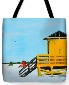 """Yellow Lifeguard Shack On Siesta Key"" Tote Bag BUY"
