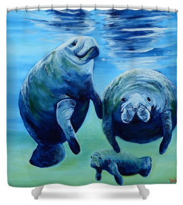 """A Manatee Family"" Shower Curtain BUY"