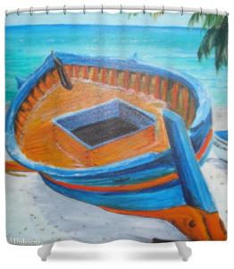 """Abandon Boat"" Shower Curtain BUY $80"