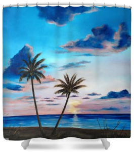 """Another Paradise Sunset"" Shower Curtain BUY $80"