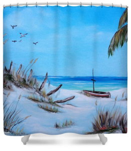"""Broken Fence On The Beach"" Shower Curtain BUY $80"