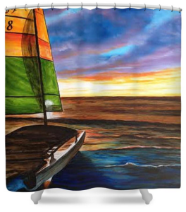 """Catamaran On Siesta Key"" Shower Curtain BUY $80"