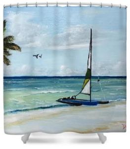 """Catamaran On The Beach"" Shower Curtain BUY"