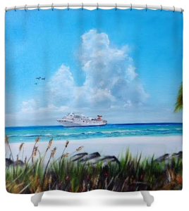 """Destination Paradise"" Shower Curtain BUY $80"