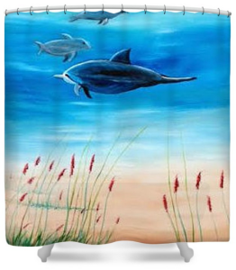 """Dolphins Underwater"" Shower Curtain BUY"