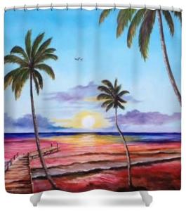 """Fishing Pier Sunset"" Shower Curtain BUY $80"