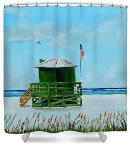 """Green Lifeguard Shack On Siesta Key"" Shower Curtain BUY"