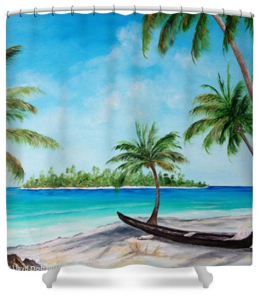 """Kayak On The Beach"" Shower Curtain BUY $80"