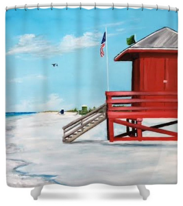 """Let's Meet At The Red Lifeguard Shack"" Shower Curtain BUY"