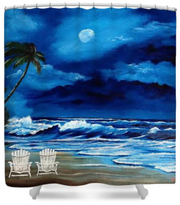 """Let's Watch The Moon Light"" Shower Curtain BUY $80"