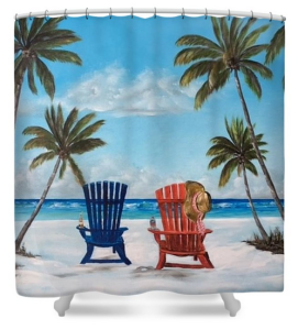 """Living The Dream"" Shower Curtain BUY"