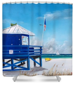 """Meet At The Blue Lifeguard"" Shower Curtain BUY"