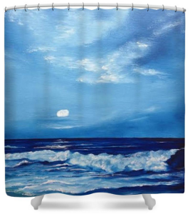 """Moon Light Night Wave"" Shower Curtain BUY $80"