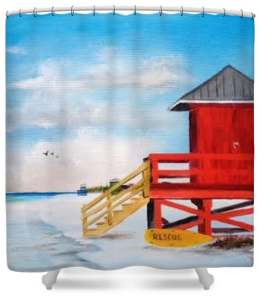 """Red Life Guard Shack On The Key"" Shower Curtain BUY $80"