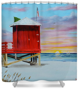 """Red Lifeguard Shack On Siesta Key"" Shower Curtain BUY"