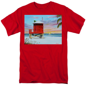 """Red Lifeguard Shack On Siesta Key"" T-Shirt BUY $28"