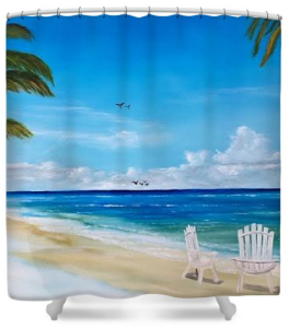 """Relaxing At The Beach"" Shower Curtain BUY"