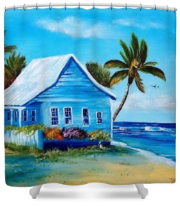 """Shanty In Jamaica"" Shower Curtain BUY $80"