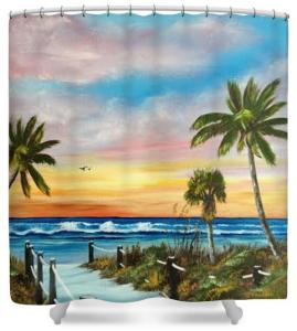 """""""Siesta Key At Sunset"""" Shower Curtain BUY $80"""