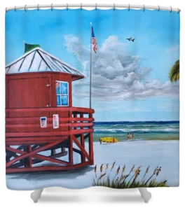 """Siesta Key Red Lifeguard Shack"" Shower Curtain BUY"