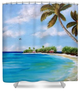 """Somewhere In Paradise"" Shower Curtain BUY $80"