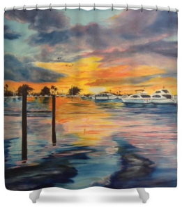 """Sunset At The Yacht Club"" Shower Curtain BUY $80"