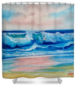 """Surf At Sunset"" Shower Curtain BUY $80"